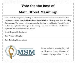 Main Street Manning Ballot 2014