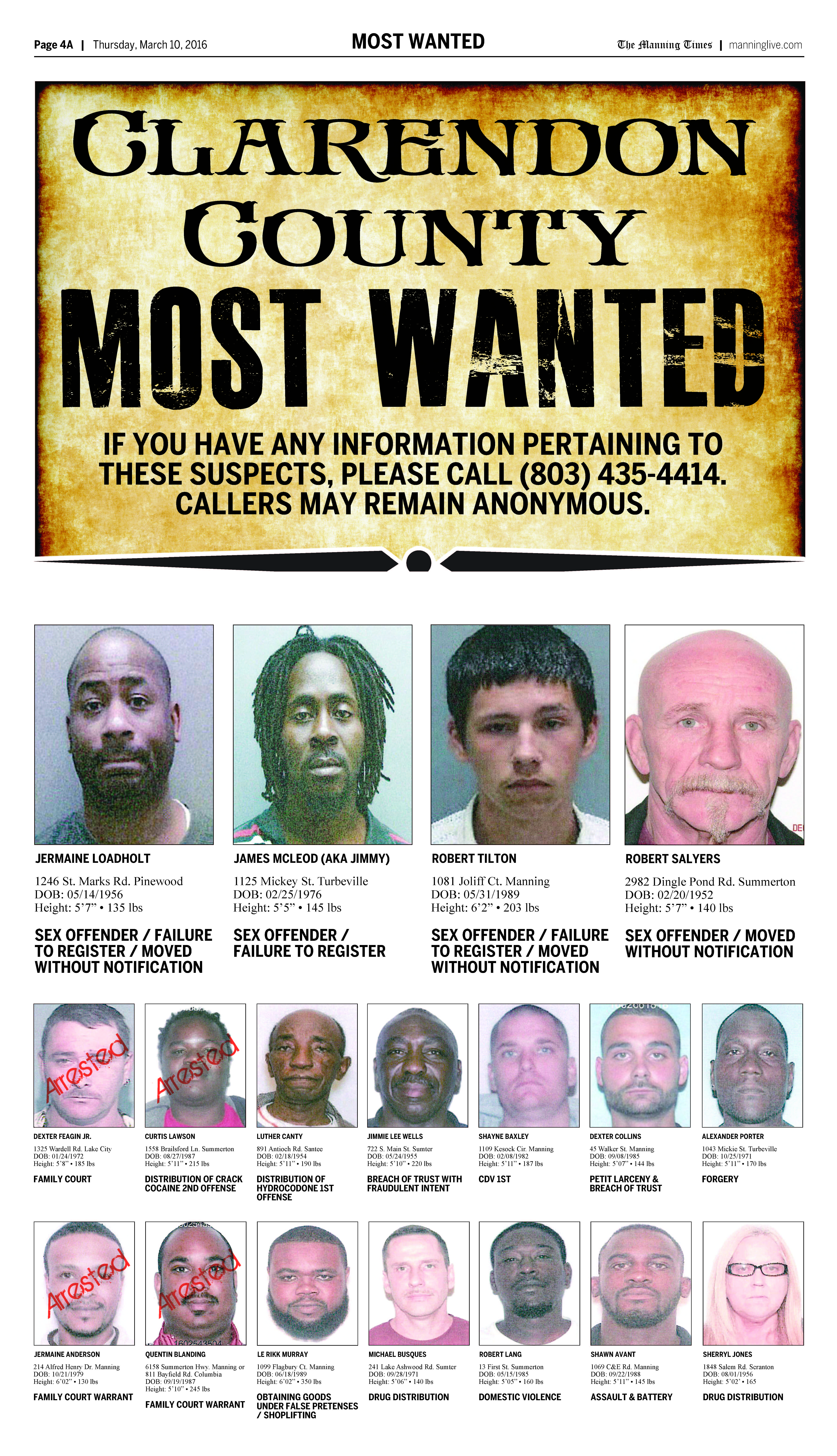 most wanted march 10