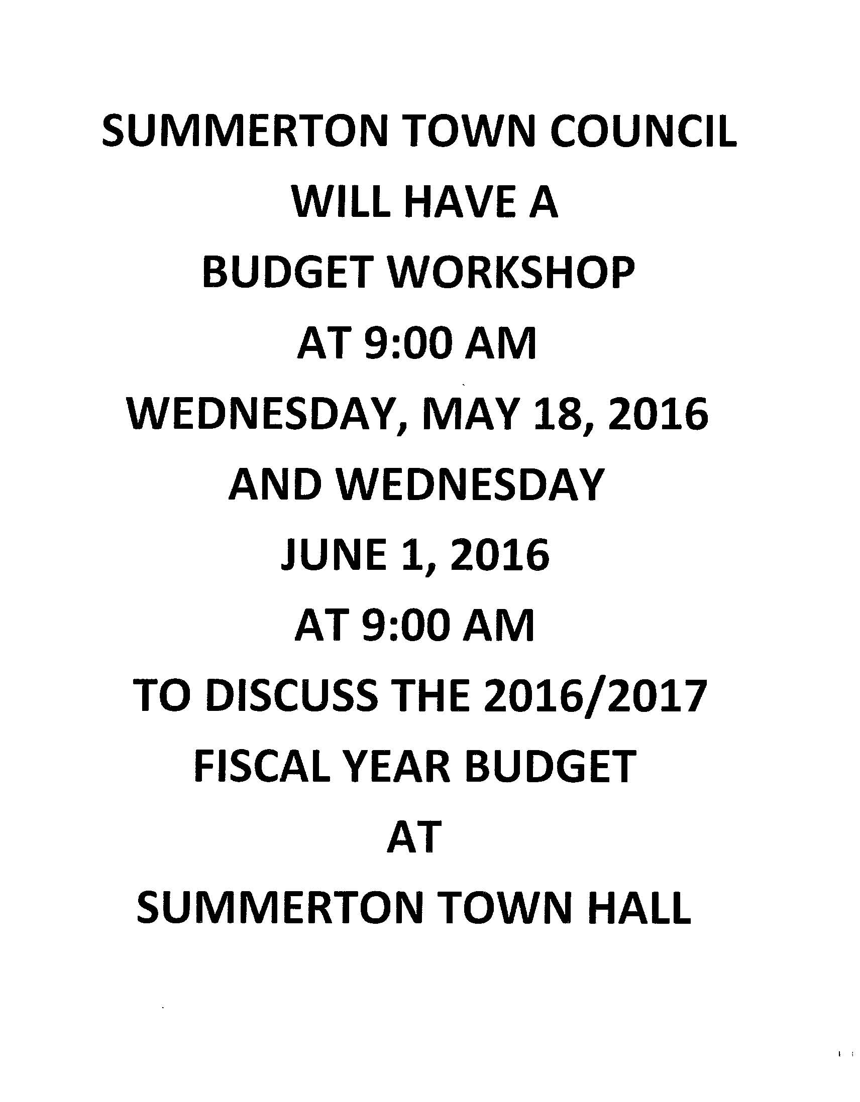 summerton budget workshop