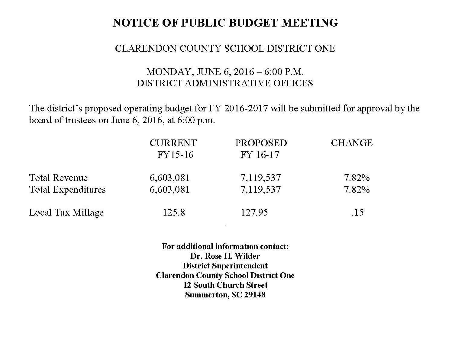 NOTICE OF PUBLIC BUDGET MEETING