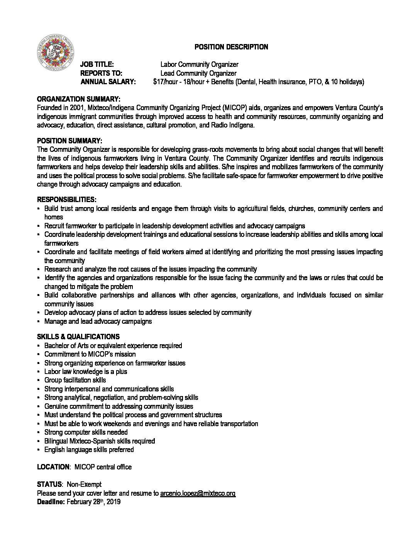 Job Opportunity: Labor Community Organizer/Organizador