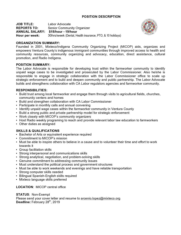 Job Opportunity: Labor Advocate – Mixteco org
