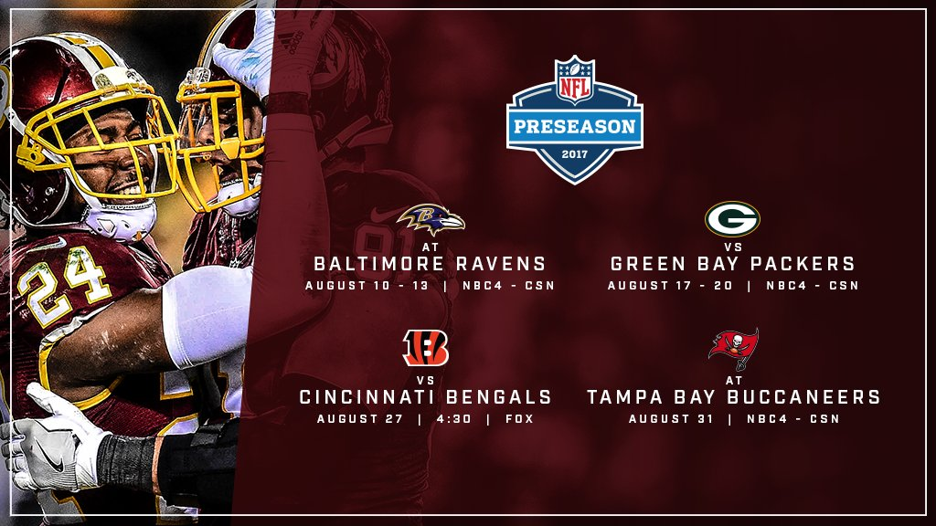 Washington Redskins Announce 2017 Preseason Opponents