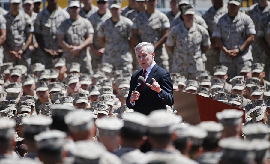 Navy Secretary Ray Mabus speaks to Marines regarding women in combat during a speech at the Camp Pendleton Marine Base, Tuesday, April 12, 2016, at Camp Pendleton, Calif. (AP Photo/Lenny Ignelzi)