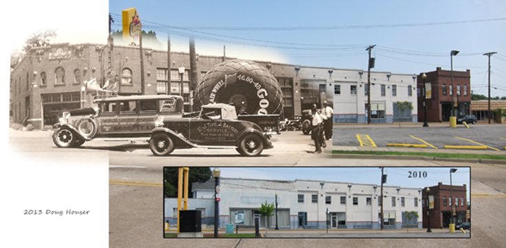 The two original photos used to create this composite were taken from different positions. Due to the miracle of Photoshop one can still get a pretty good idea of how this building once looked. Doug Houser/Elmer Wind Jr.