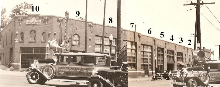 Combining the two vintage photos makes it easy to see how massive this building once was. Ten bays!