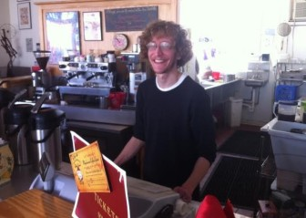 Bill Newmann at the counter at Stone Spiral Coffee