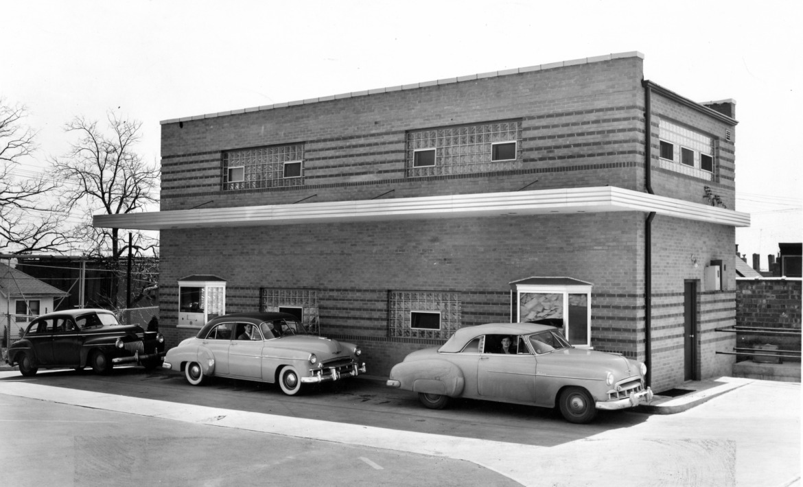 Those are some pretty snazzy Chevrolets in this photo most likely taken for the 1949 opening of the ultra modern facility.