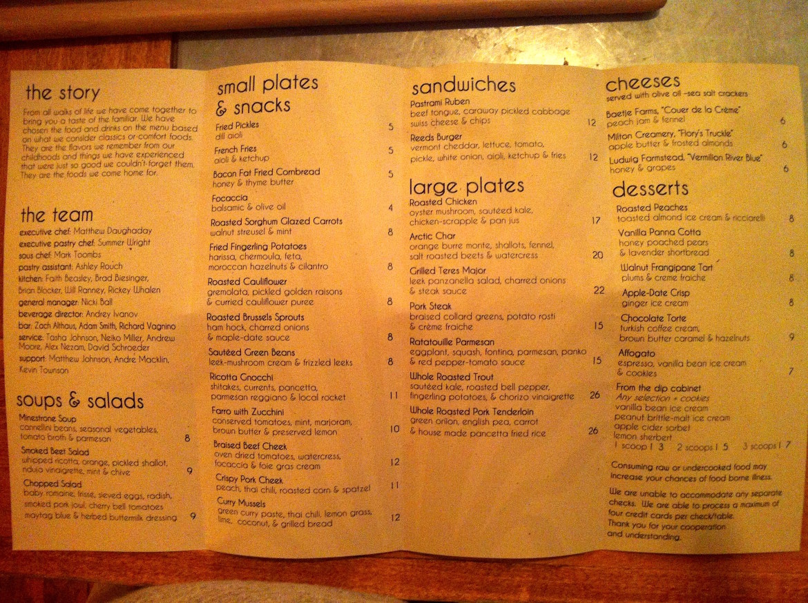 Reeds American Table menu