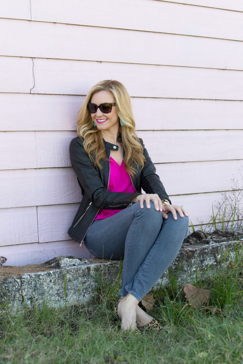 Pink Top and Leather Jacket