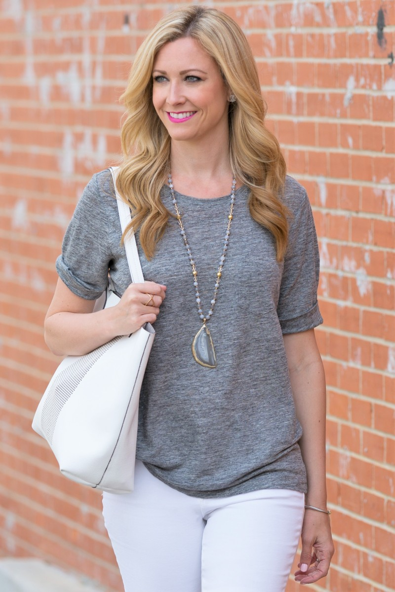 gray tshirt and white jeans