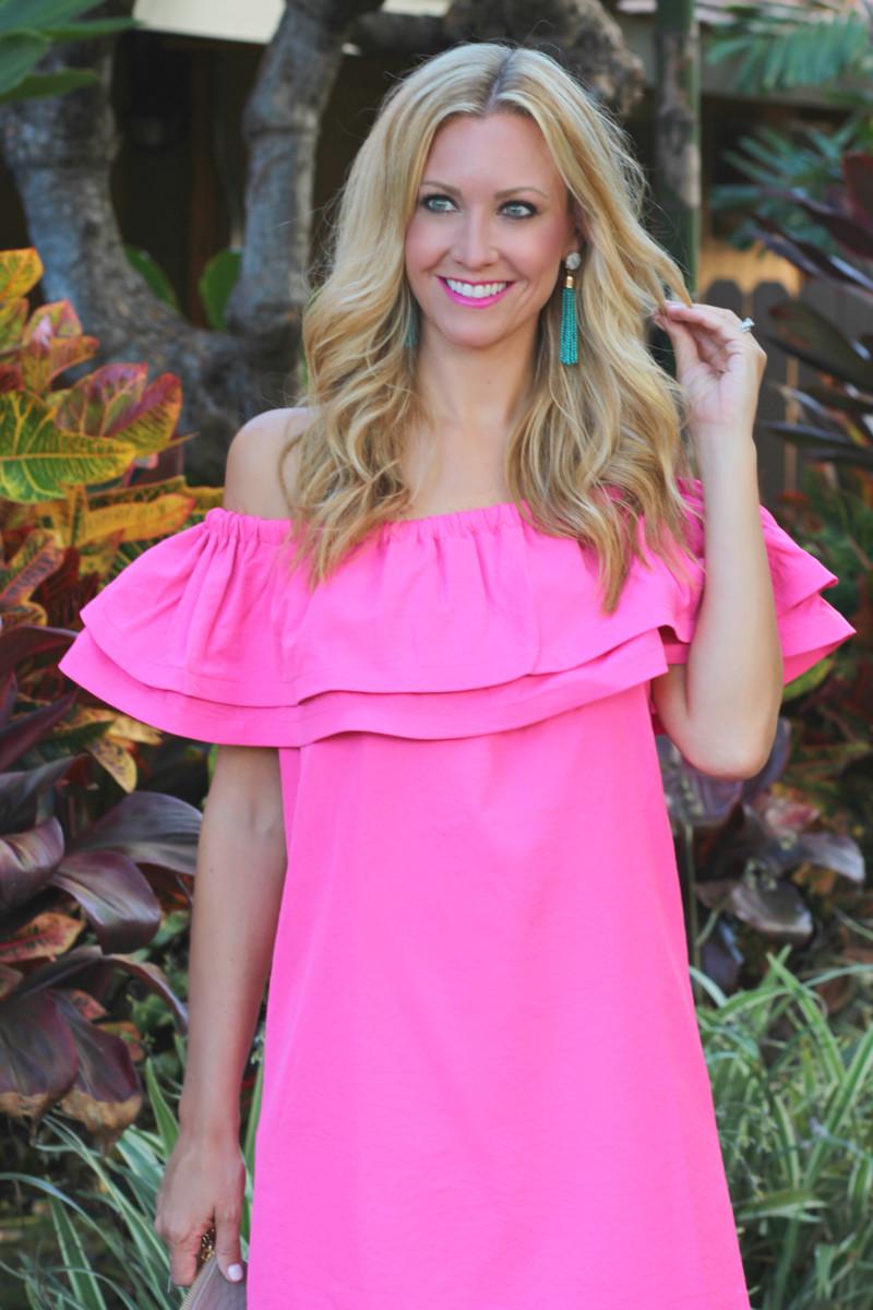hawaii and pink ruffle dress