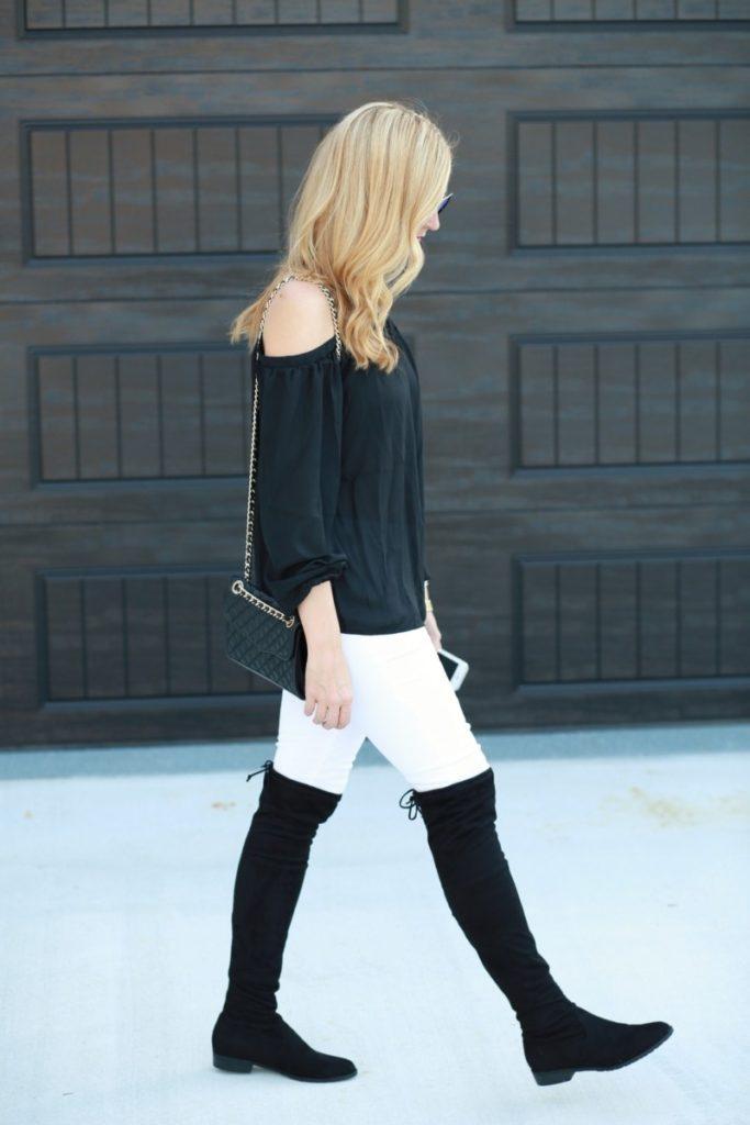 otk boots and cold shoulder top