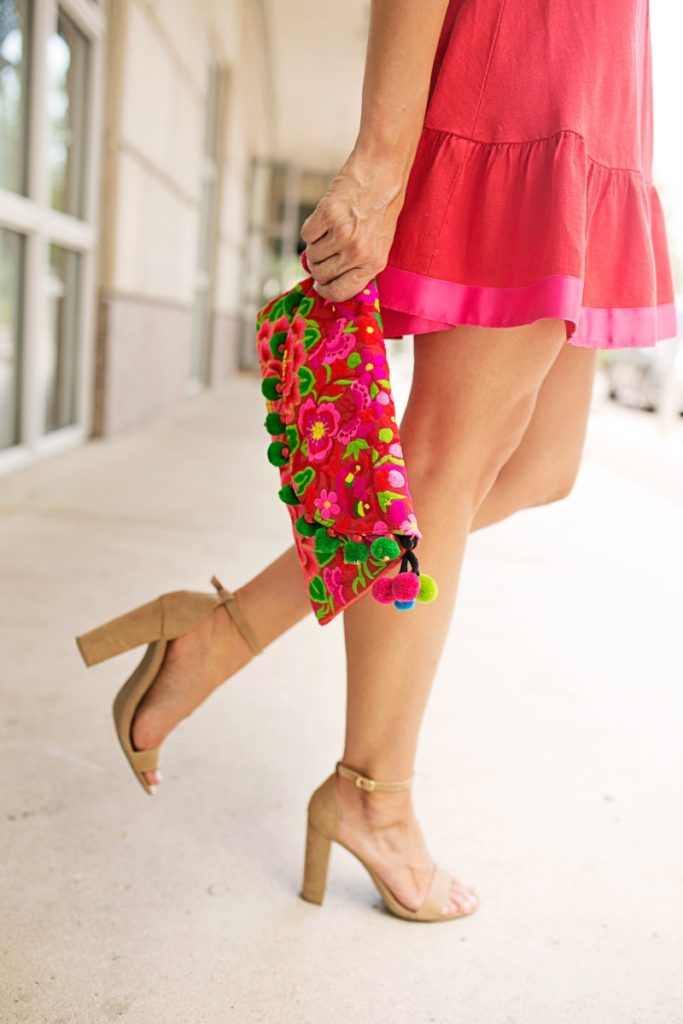 Affordable Cute Sundress and Colorful Clutch Under $100 by fashion blogger Sara of Haute & Humid