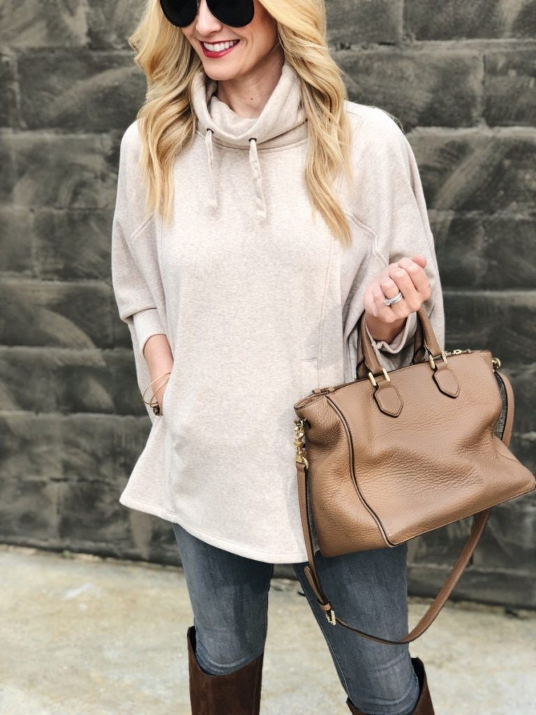 turtleneck poncho - The Softest Turtleneck Poncho by Houston fashion blogger Haute & Humid