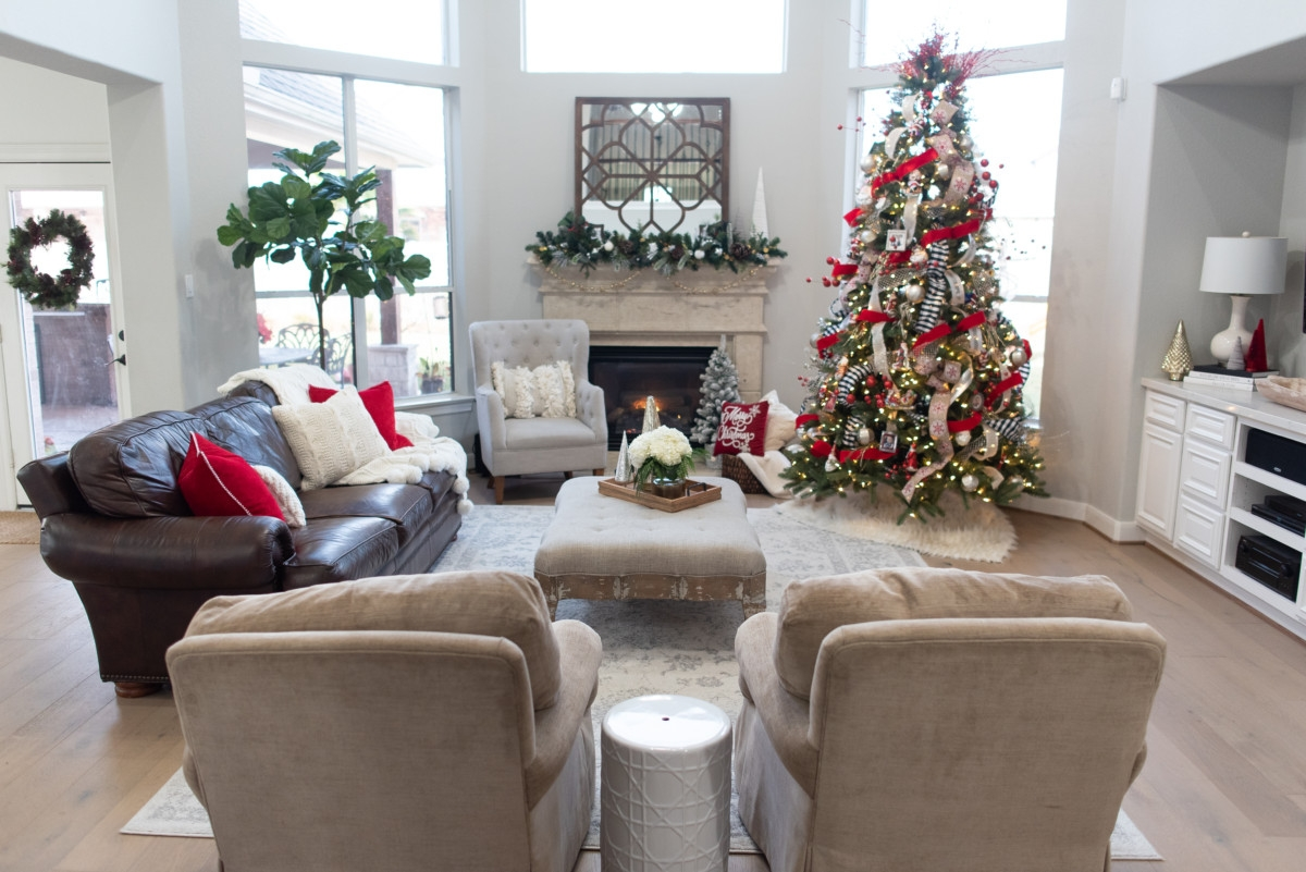 christmas living room | Holiday Home Tour: Festive Christmas Home Decor featured by top Houston life and style blog Haute & Humid