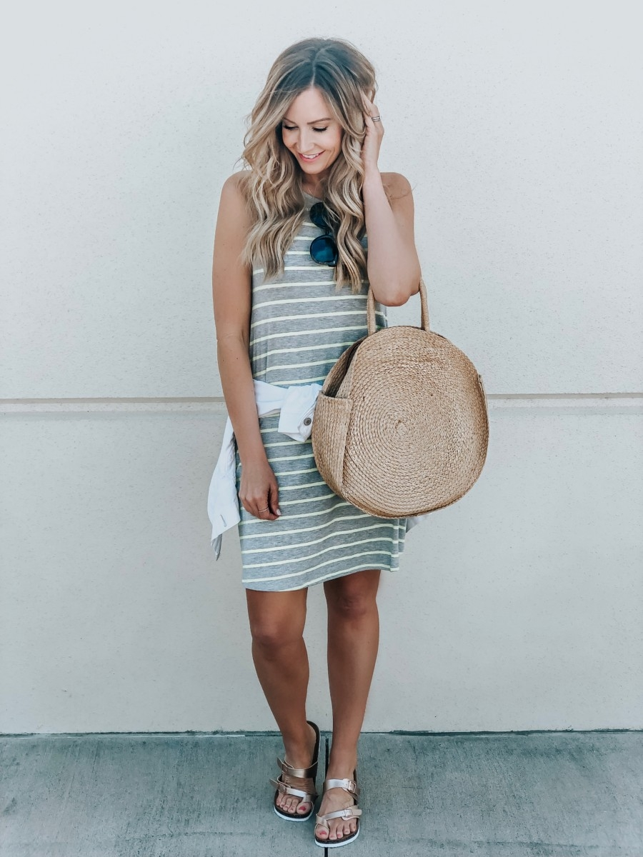 Spring Wardrobe featured by top US fashion blog Haute & Humid; Image of a woman wearing a striped dress and woven tote from Walmart.