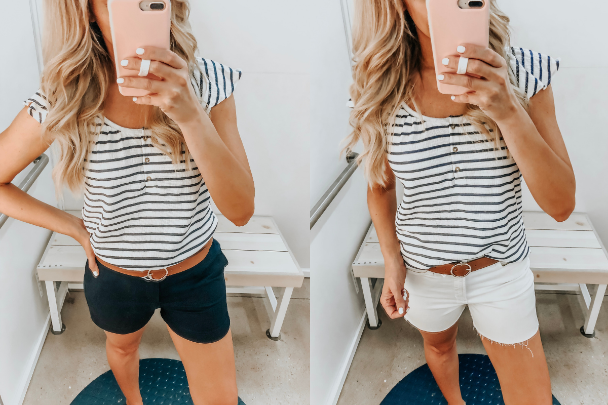 Best Memorial Day Weekend Sales featured by top US fashion blog Haute & Humid; Image of a woman wearing Old Navy striped top.