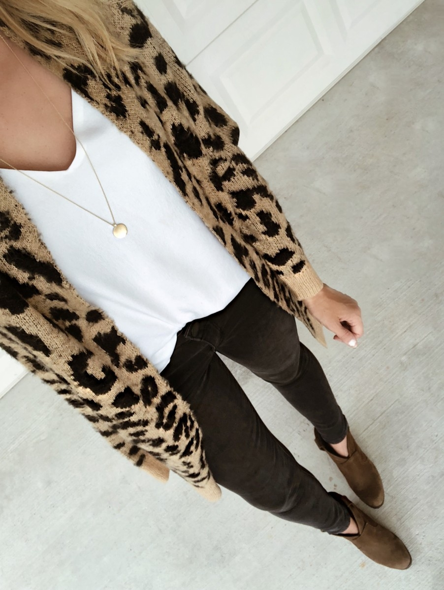 leopard cardigan | Nordstrom Anniversary Sale Favorites by popular Houston fashion blog, Haute and Humid: image of a woman wearing a Long Leopard Jacquard Cardigan by BP., Lace Trim Satin Camisole Top by BP., and Ab-solution Skinny Ankle Jeans by WIT & WISDOM.