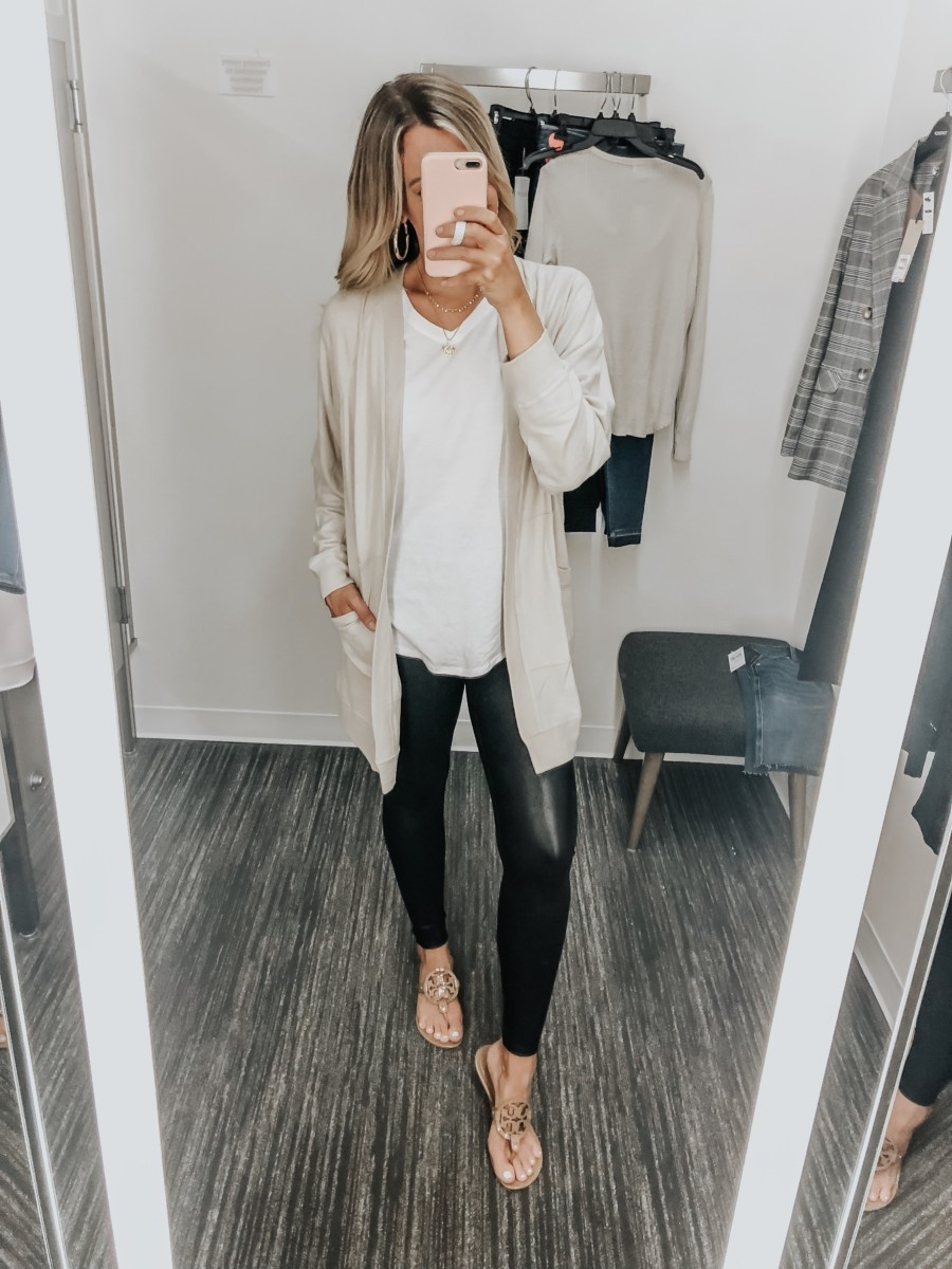 spanx faux leather leggings | Nordstrom Anniversary Sale Favorites by popular Houston fashion blog, Haute and Humid: image of Faux Leather Leggings by SPANX®, Longline Open Cardigan by BP., and white Main, color, PINK BOUQUET (1) Sleepy Lounge Tee by BP.