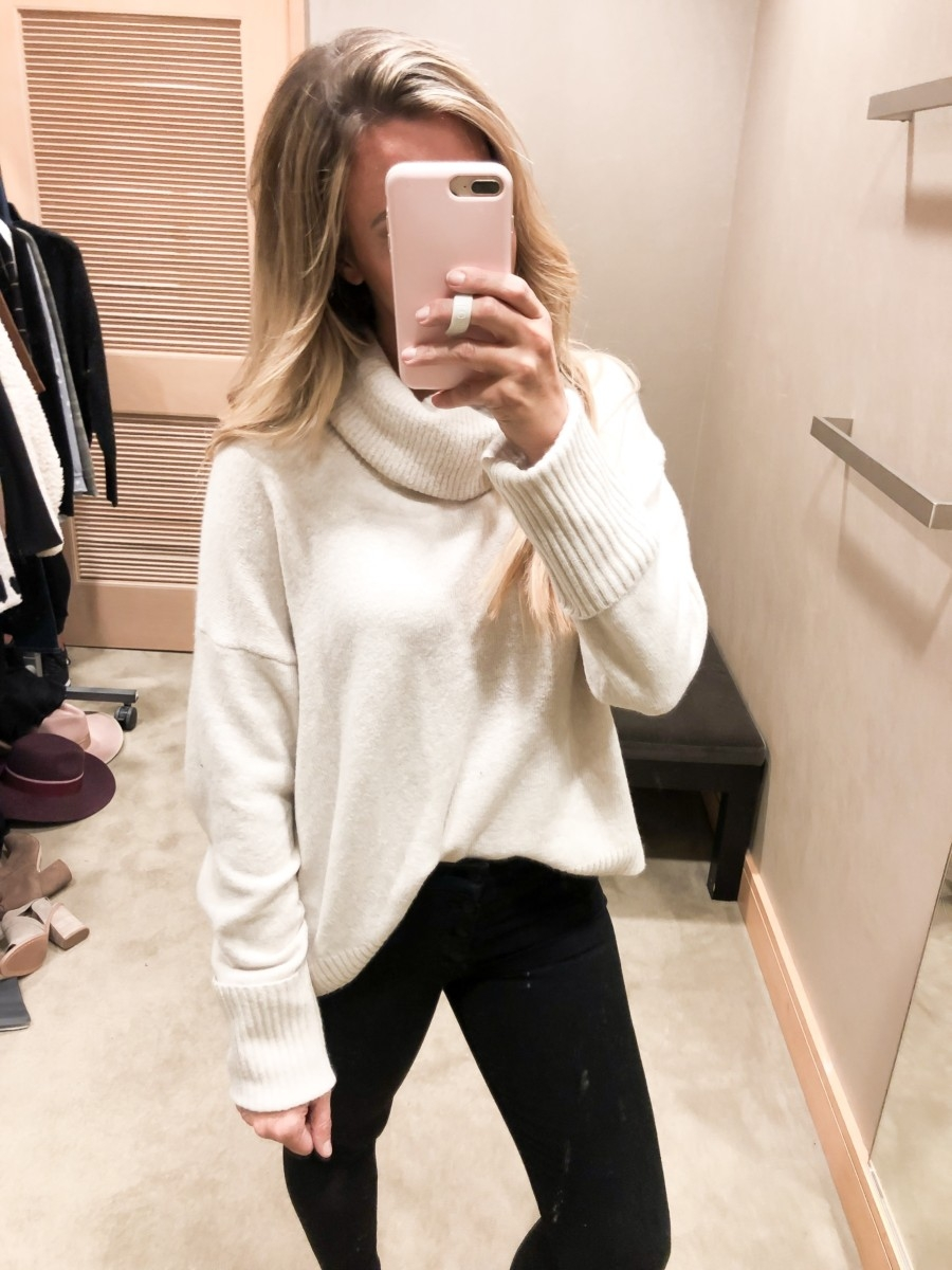 nordstrom anniversary sale | Nordstrom Anniversary Sale Favorites by popular Houston fashion blog, Haute and Humid: image of a woman standing in a dressing room and wearing Chelsea28 Slouchy Sweater, Feather Studded Loafer by STEVE MADDEN, and Ab-solution Skinny Ankle Jeans by WIT & WISDOM