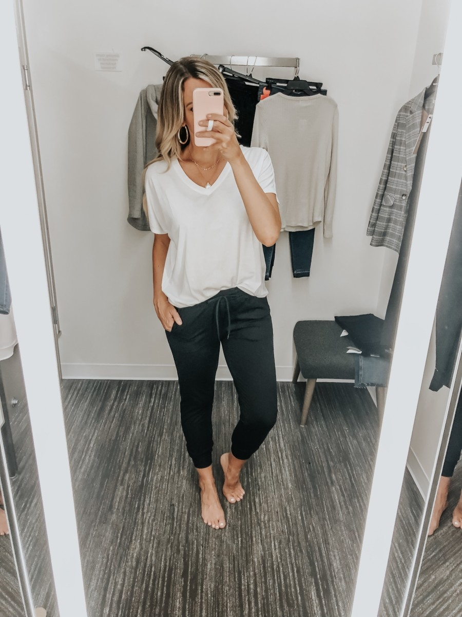 zella joggers | Nordstrom Anniversary Sale Favorites by popular Houston fashion blog, Haute and Humid: image of a woman in dressing room wearing a pair of Live In Jogger Pants by ZELLA and a white Sleepy Lounge Tee by BP.