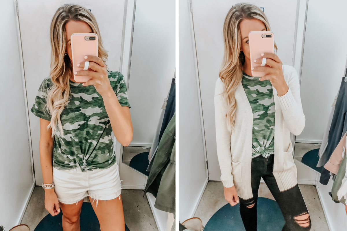 camo tee   Old Navy Try On - August 2019 by popular Florida fashion blog, Haute and Humid: image of a woman standing in a Old Navy dressing room and wearing a camo Old Navy EveryWear Slub-Knit Camo Tee for Women, Madewell High Waist Denim Shorts, Old Navy Open-Front Long-Line Sweater, and Old Navy High-Waisted Distressed Rockstar Super Skinny Jeans.