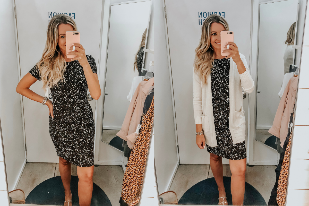 leopard dress   Old Navy Try On - August 2019 by popular Florida fashion blog, Haute and Humid: image of a woman standing in a Old Navy dressing room and wearing a Old Navy Printed Ponte-Knit Sheath Dress and cardigan.