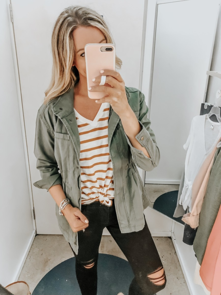 utility jacket   Old Navy Try On - August 2019 by popular Florida fashion blog, Haute and Humid: image of a woman standing in a Old Navy dressing room and wearing a High-Waisted Distressed Rockstar Super Skinny Jeans and Canvas Utility Jacket.