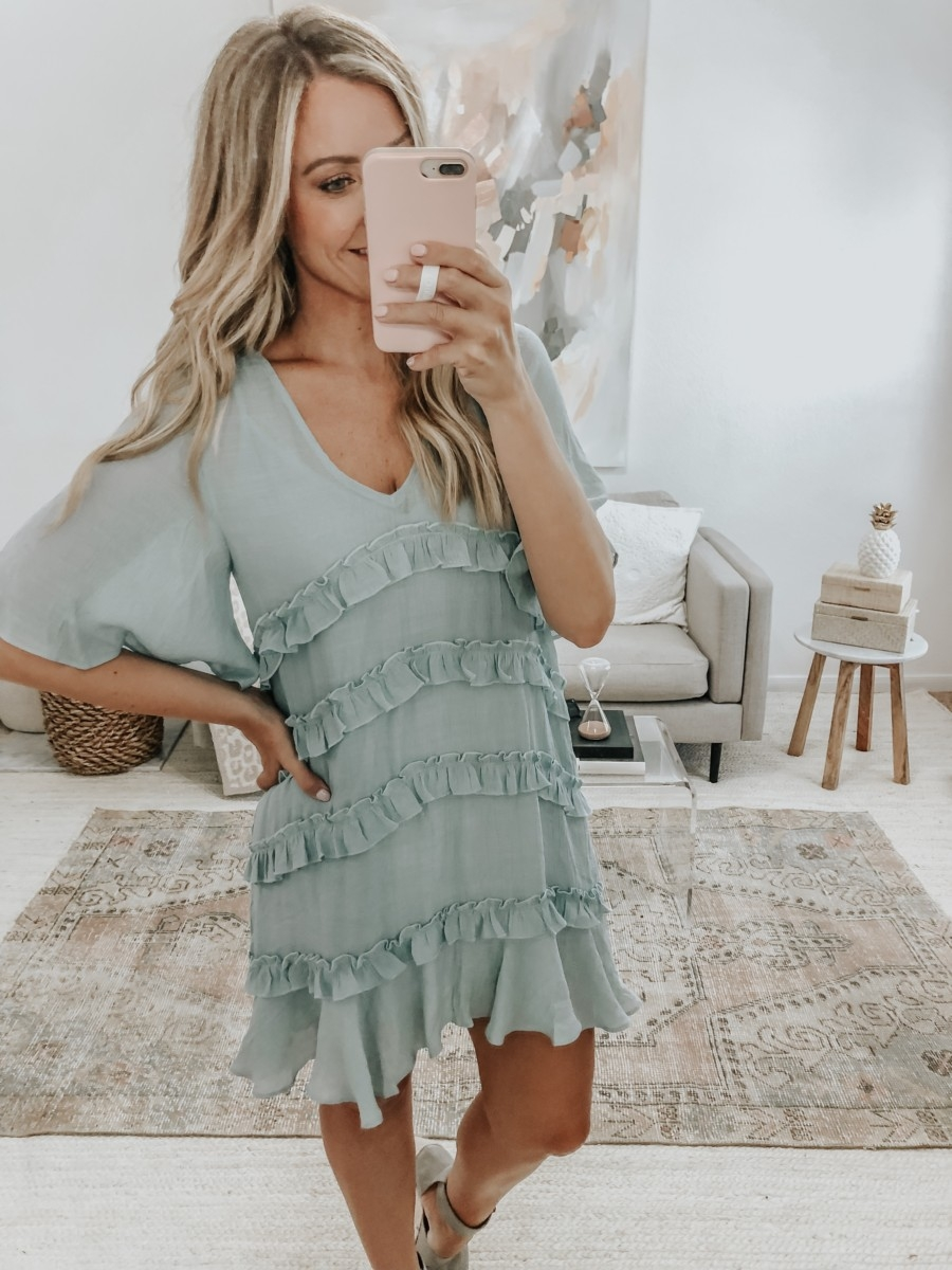 ruffle dress | 6 Early Fall Outfits With Vici by popular Houston fashion blog, Haute and Humid: image of a woman wearing a Vici Let's Tango Pocketed Ruffle Dress.