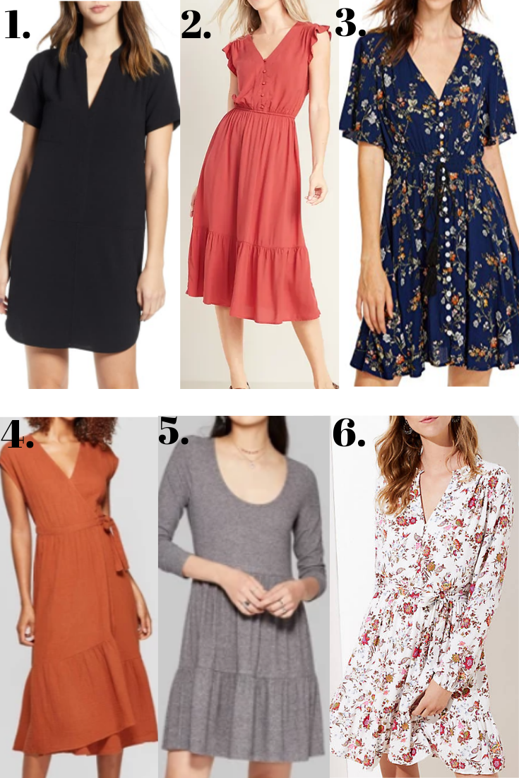 fall dresses   18 Cute Fall Dresses Under $100 by popular Houston fashion blog, Haute and Humid: collage image of   18 Cute Fall Dresses Under $100 by popular Houston fashion blog, Haute and Humid: collage image of fall dresses.