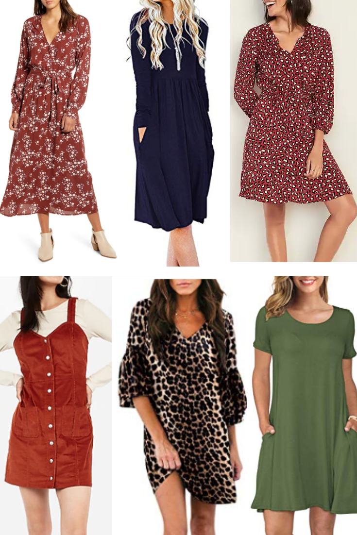 fall dresses   18 Cute Fall Dresses Under $100 by popular Houston fashion blog, Haute and Humid: collage image of fall dresses.