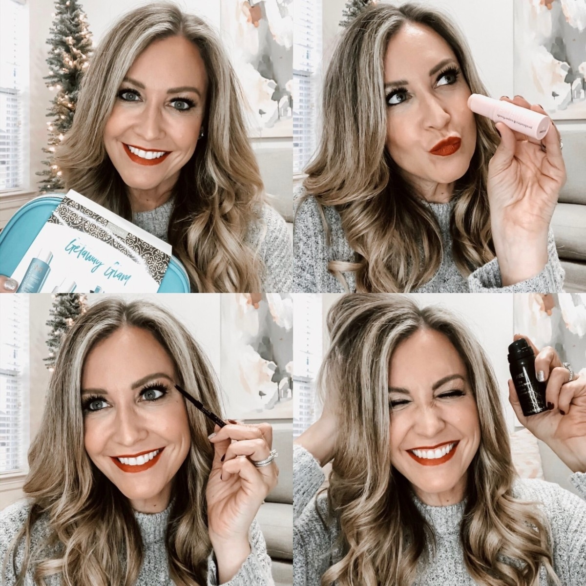 Gift Guide For The Beauty Lover | Beauty Gift Ideas: All Things Hair, Makeup And Skin by popular Houston beauty blog Haute and Humid: collage image of a woman holding her favorite beauty products.