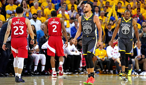 Steph Curry walking off the floor