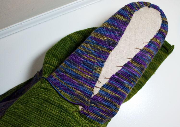 Blocking hoodie | Ruby baby sweater pattern by Holli Yeoh