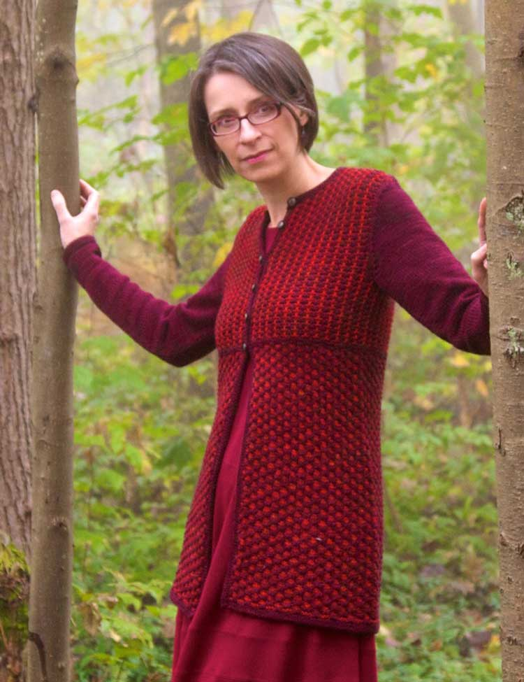 Aquitaine jacket sweater knitting pattern designed by Holli Yeoh