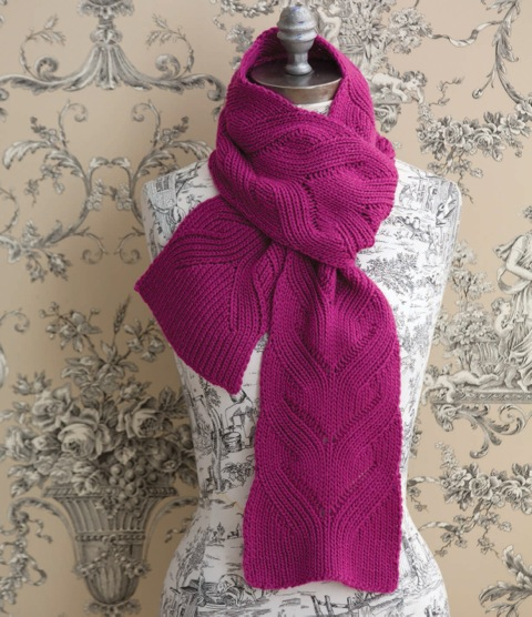 Mock Cable Scarf knitting pattern designed by Holli Yeoh | Published in 60 Quick Luxury Knits