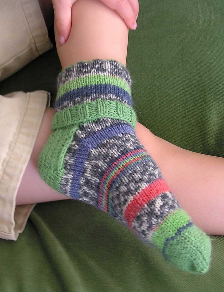 Cuffs socks knitting pattern for babies and kids designed by Holli Yeoh