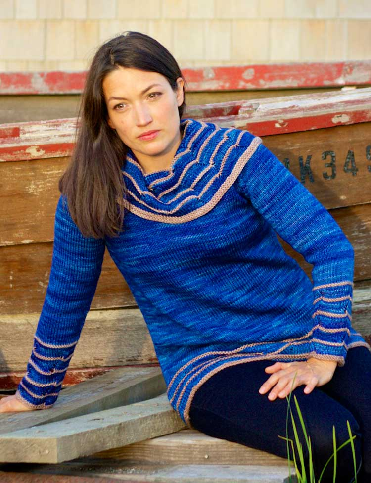 Watermark cowl neck sweater knitting pattern designed by Holli Yeoh | Published in Tempest