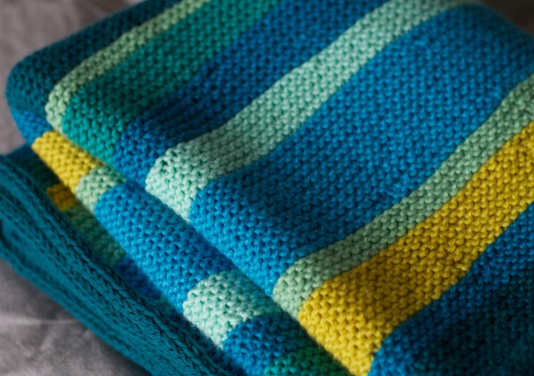 #32 Short-Row Stripes Blanket baby knitting pattern designed by Holli Yeoh | Published in Knit Simple Spring/Summer 2014