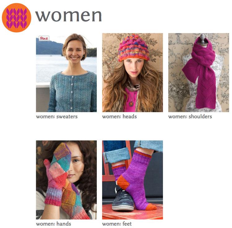 HolliYeoh.com screenshot of Women's Designs categories--go take a look!