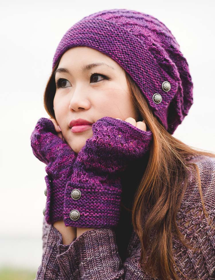 Procella hat and fingerless mitts knitting pattern by Holli Yeoh   Tempest book