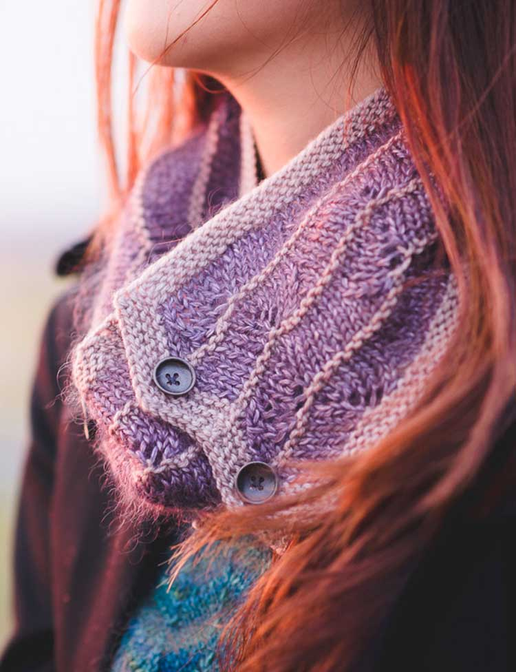 Third Beach buttoned cowl knitting pattern by Holli Yeoh   Tempest book