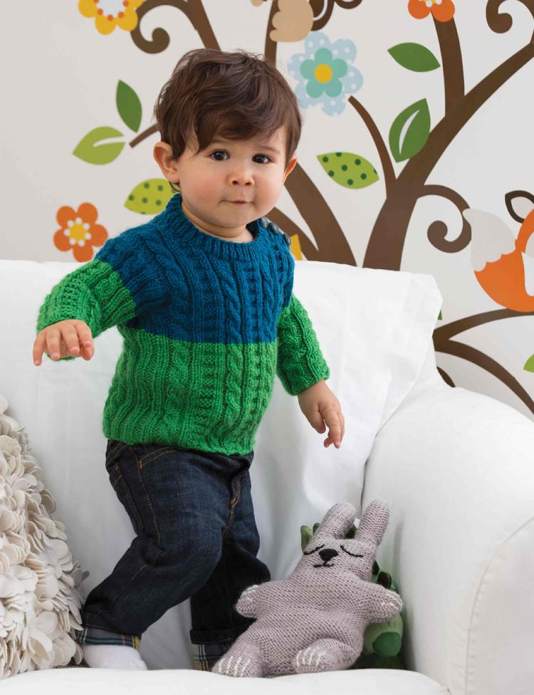 Colorblock Cabled Pullover baby knitting pattern by Holli Yeoh