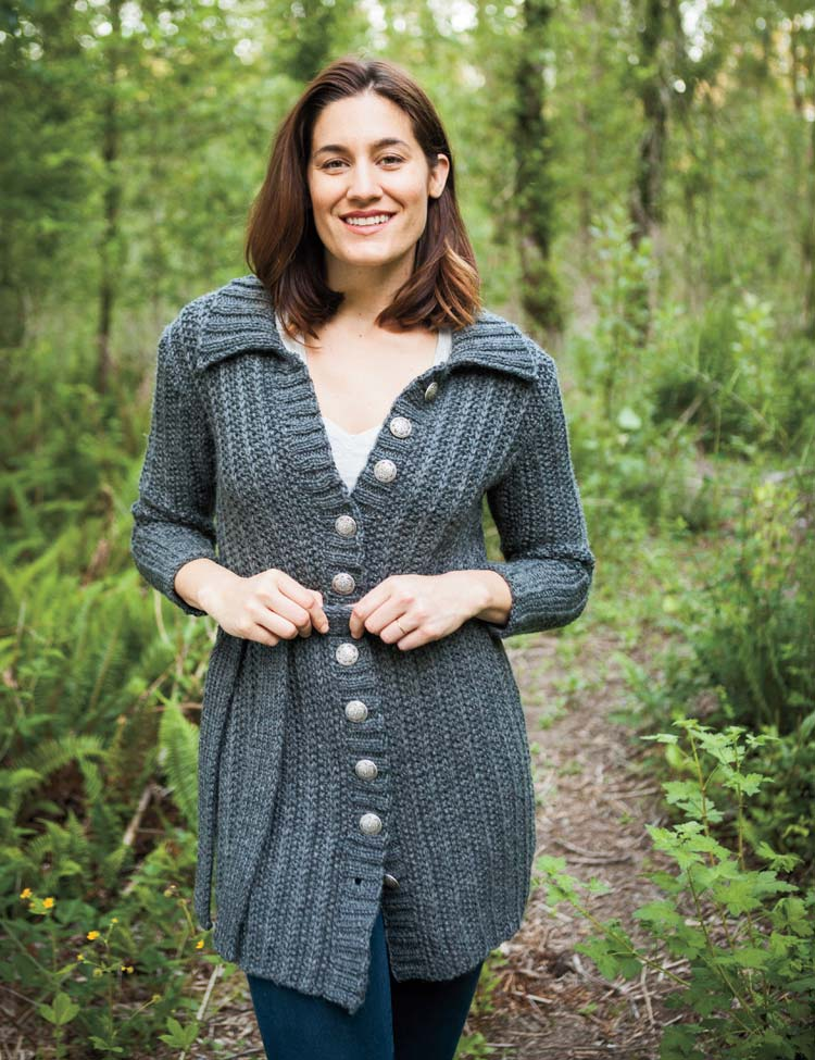 Belted Coat knitting pattern designed by Holli Yeoh | Twist & Tweed