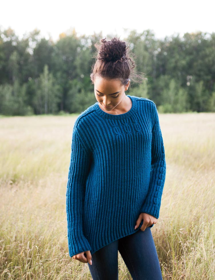 Fisherman's Rib woman's pullover knitting pattern by Holli Yeoh
