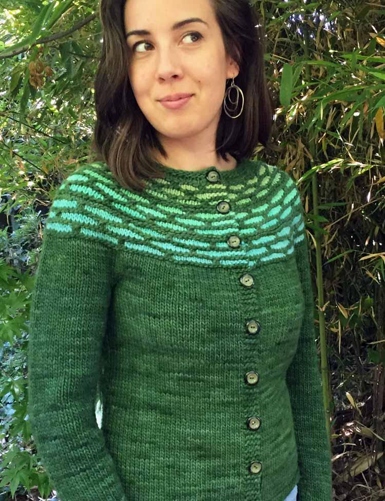 Cloisonne Cardigan knitting pattern by Holli Yeoh