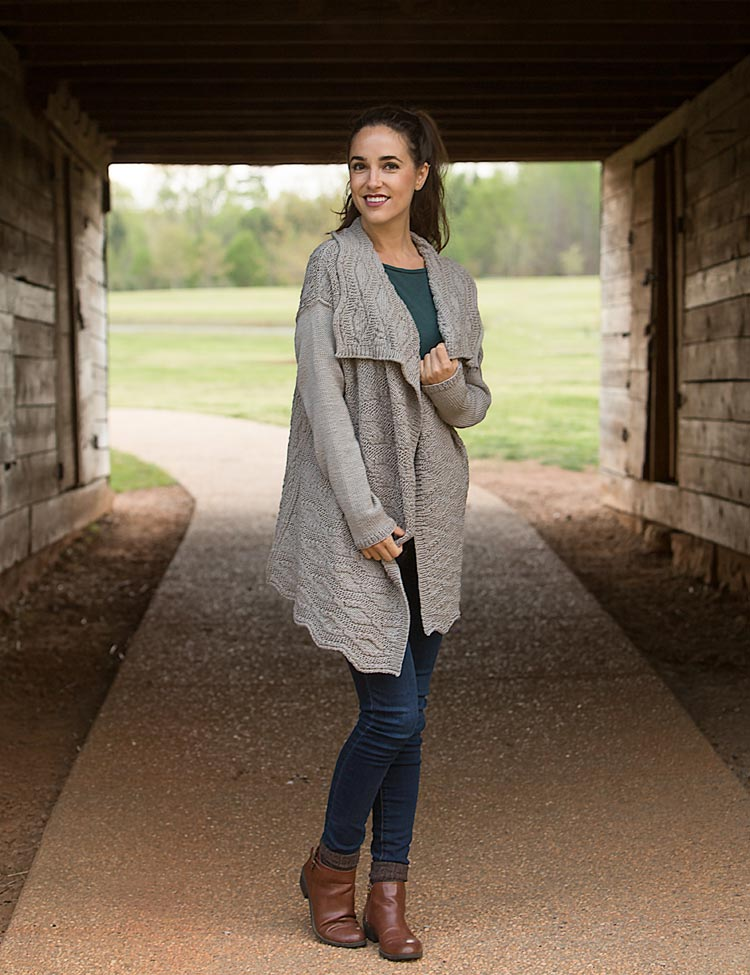 Hattie cardigan wrap knitting pattern by Holli Yeoh
