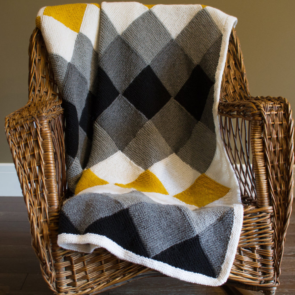 The Laurentian entrelac blanket knitting pattern by Holli Yeoh