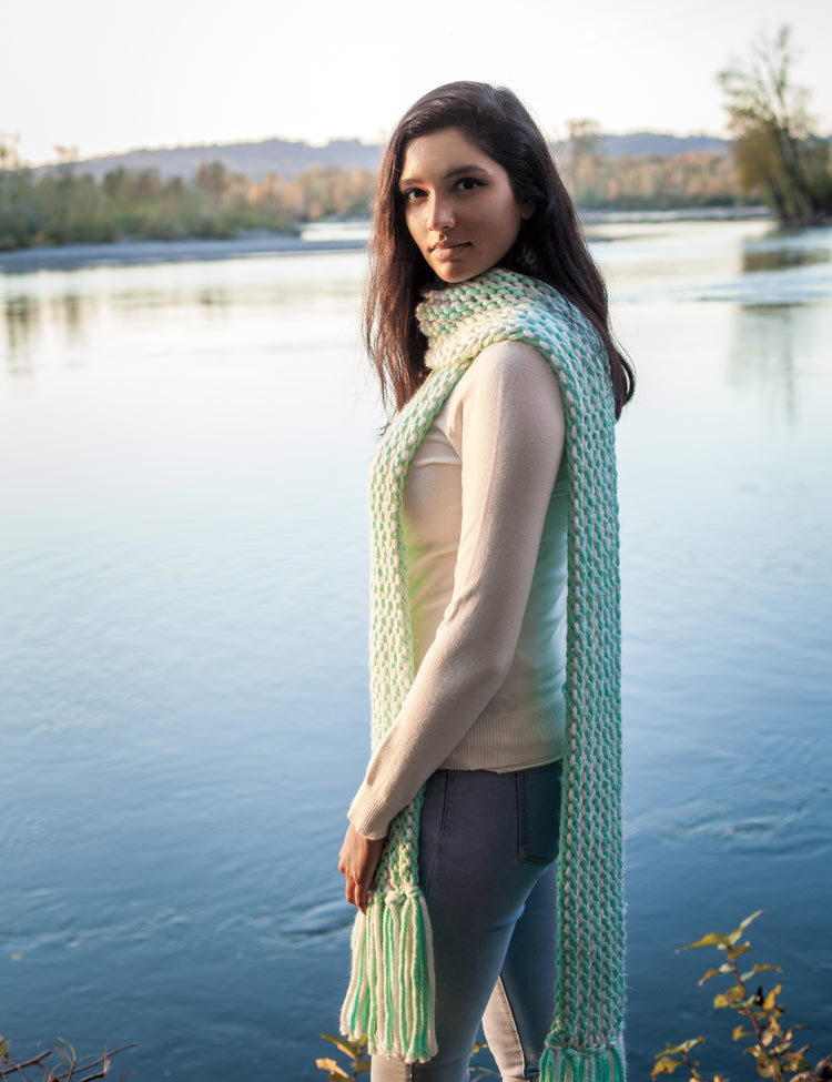 Glacial Slide Scarf knitting pattern by Holli Yeoh